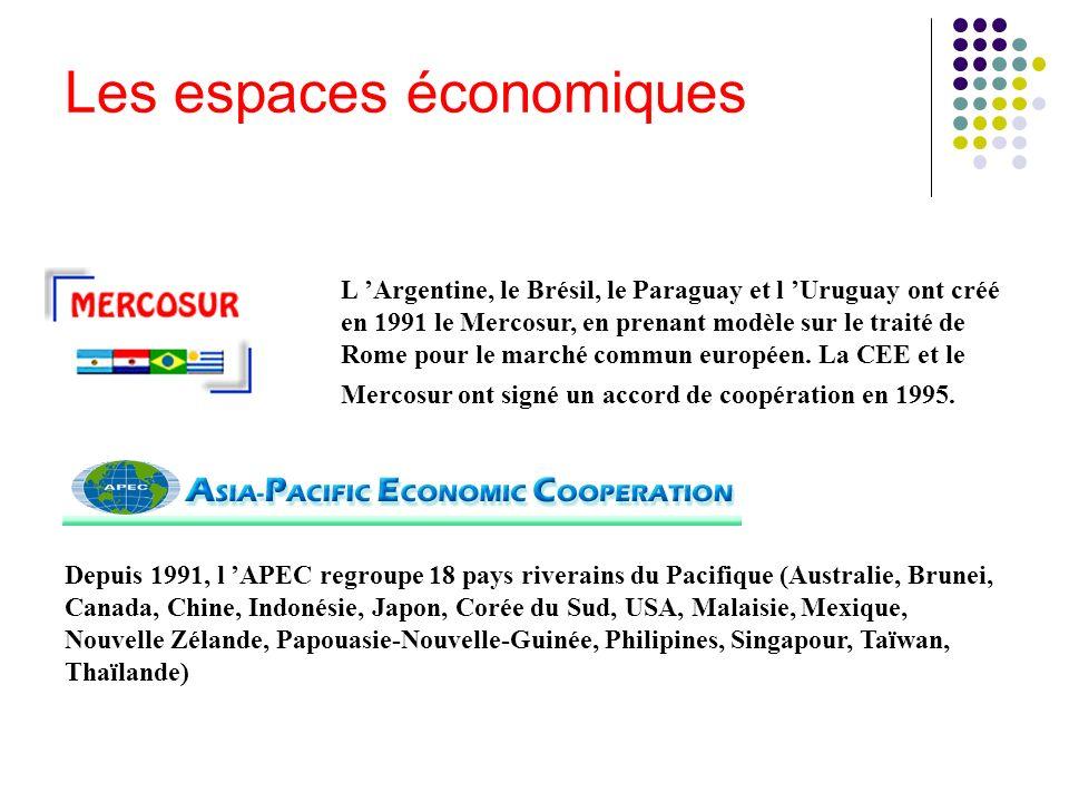 L Argentine, le Brésil, le Paraguay et l Uruguay ont créé en 1991 le Mercosur, en prenant modèle sur le traité de Rome pour le marché commun européen.