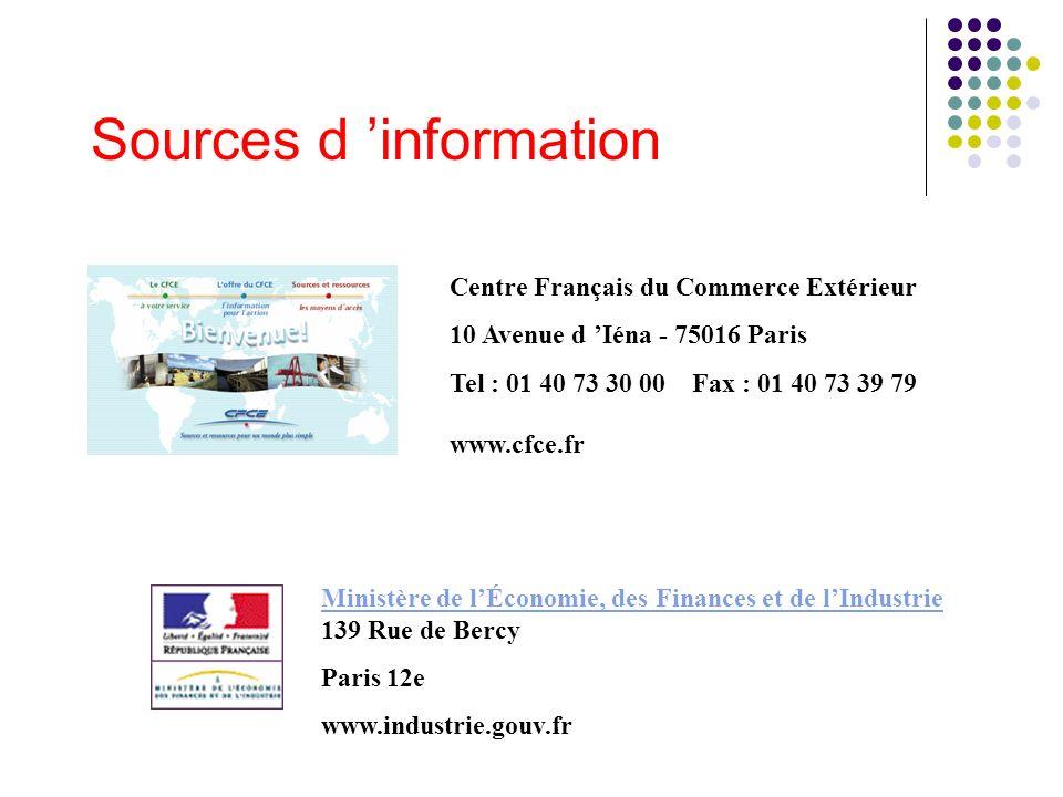 Sources d information Centre Français du Commerce Extérieur 10 Avenue d Iéna - 75016 Paris Tel : 01 40 73 30 00 Fax : 01 40 73 39 79 www.cfce.fr Minis