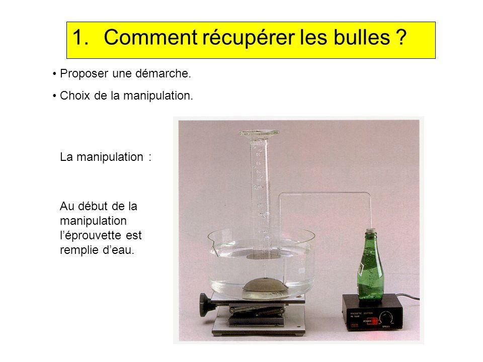 1.Comment récupérer les bulles ? Proposer une démarche. Choix de la manipulation. La manipulation : Au début de la manipulation léprouvette est rempli