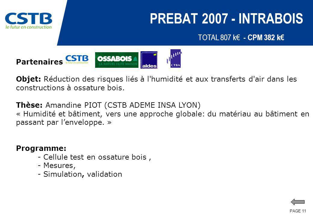 PAGE 11 PREBAT 2007 - INTRABOIS Partenaires: Objet: Réduction des risques liés à l'humidité et aux transferts d'air dans les constructions à ossature