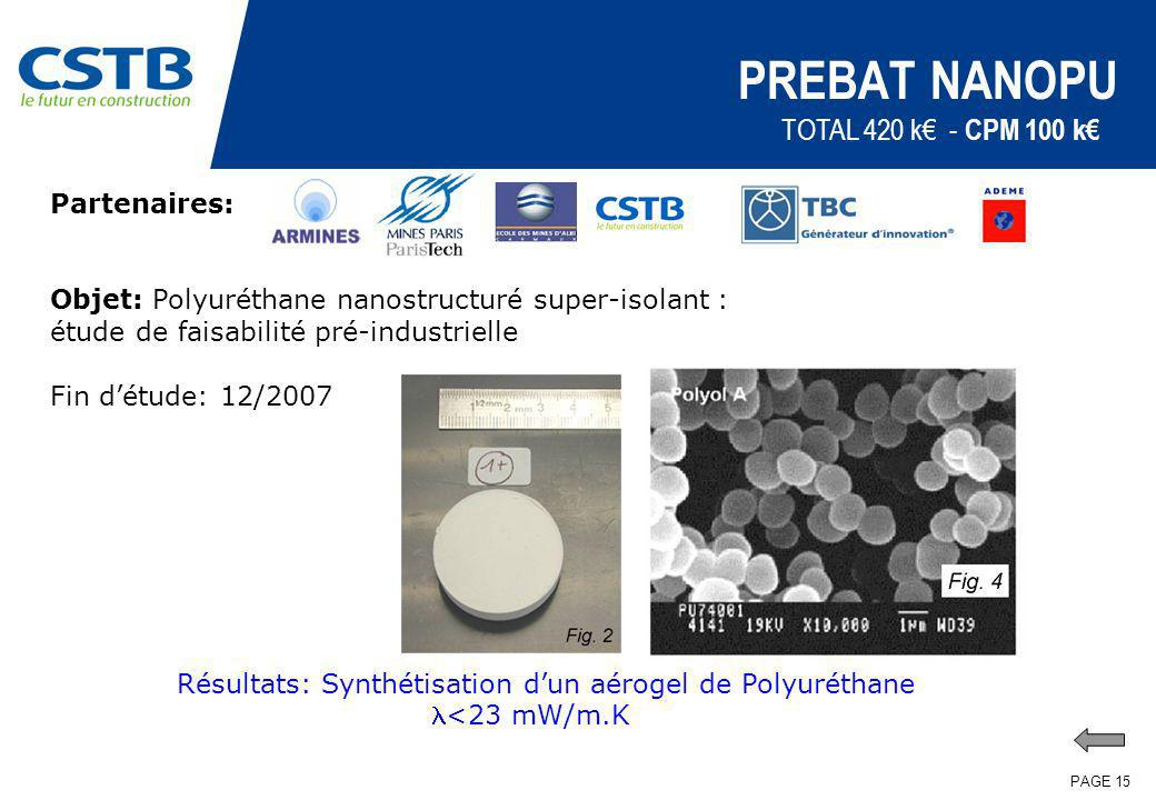 PAGE 15 PREBAT NANOPU Partenaires: Objet: Polyuréthane nanostructuré super-isolant : étude de faisabilité pré-industrielle Fin détude: 12/2007 TOTAL 4