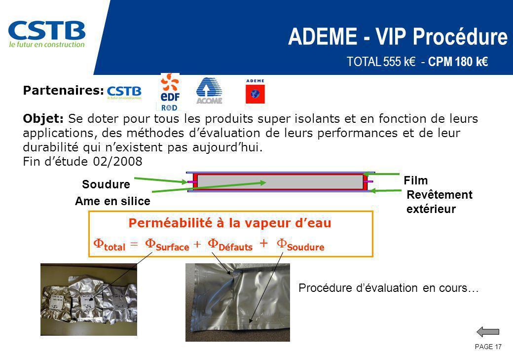 PAGE 17 ADEME - VIP Procédure Partenaires: Objet: Se doter pour tous les produits super isolants et en fonction de leurs applications, des méthodes dé