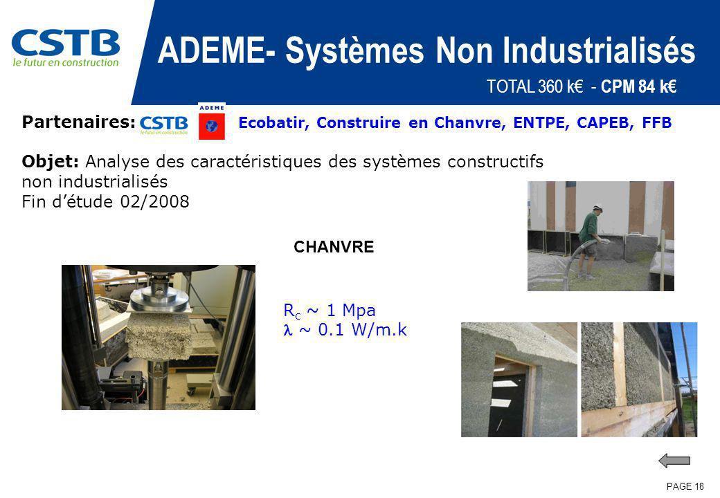 PAGE 18 ADEME- Systèmes Non Industrialisés Partenaires: Ecobatir, Construire en Chanvre, ENTPE, CAPEB, FFB Objet: Analyse des caractéristiques des sys