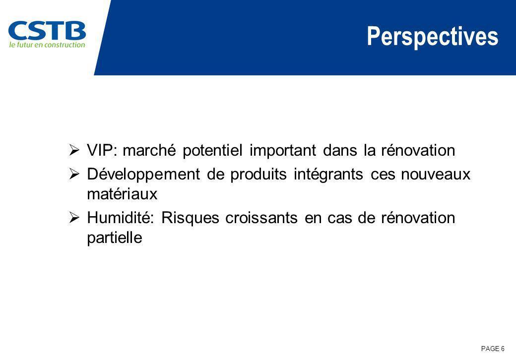 PAGE 6 Perspectives VIP: marché potentiel important dans la rénovation Développement de produits intégrants ces nouveaux matériaux Humidité: Risques c