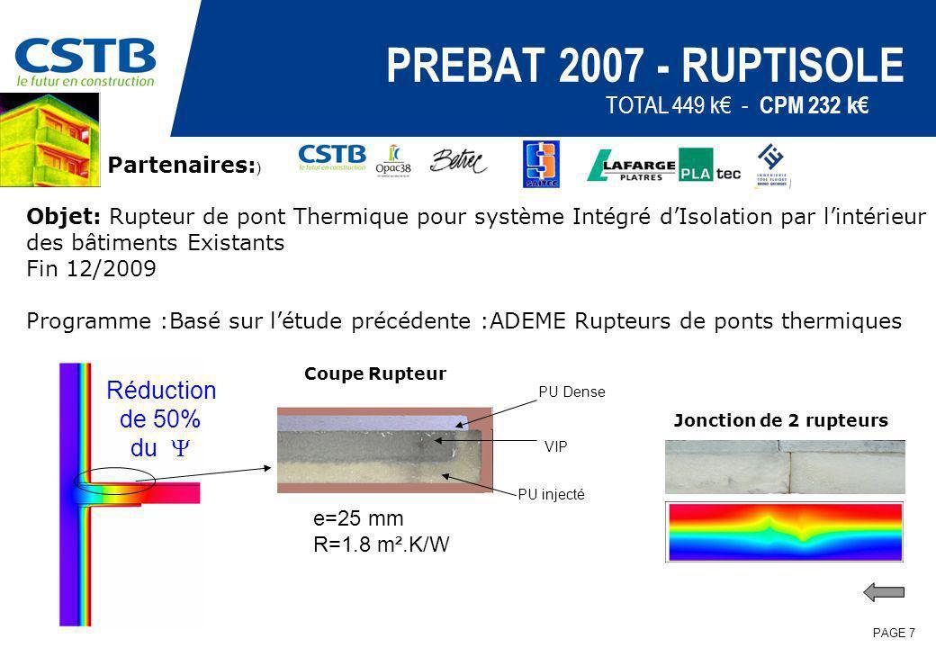 PAGE 7 PREBAT 2007 - RUPTISOLE Partenaires: ) Objet: Rupteur de pont Thermique pour système Intégré dIsolation par lintérieur des bâtiments Existants