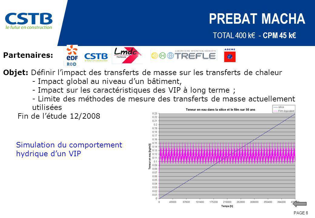 PAGE 8 PREBAT MACHA Partenaires: Objet: Définir limpact des transferts de masse sur les transferts de chaleur - Impact global au niveau dun bâtiment,