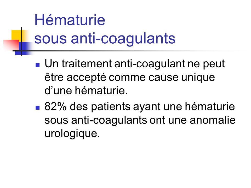 Hématurie sous anti-coagulants Un traitement anti-coagulant ne peut être accepté comme cause unique dune hématurie.