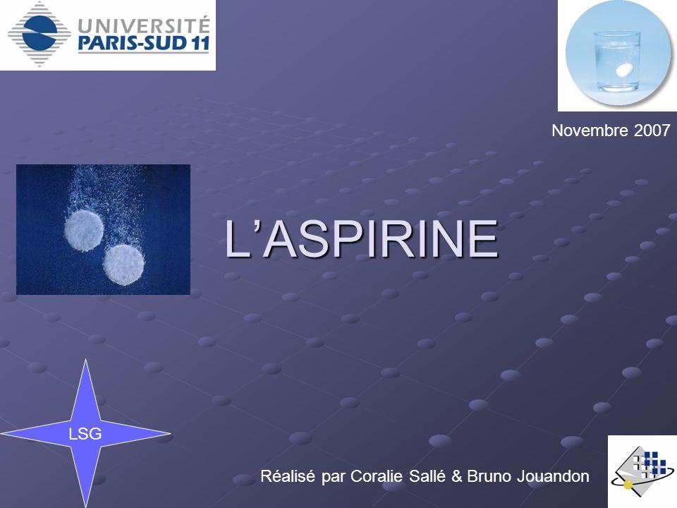 1) La simple aspirine Il s agit d aspirine moléculaire mélangée à un excipient (substance qui véhicule le médicament jusqu au site d absorption, et lui donne une masse compatible avec une manipulation aisée) Ils contiennent un minimum d additifs (substance qui améliore le goût et facilite ladministration).
