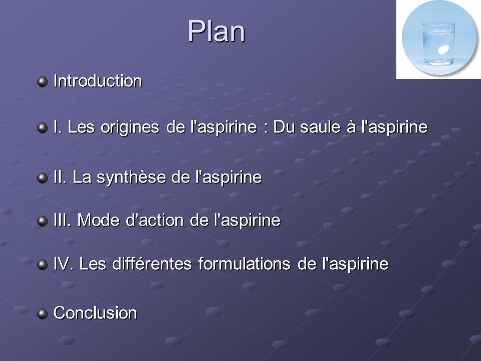 Introduction Aspirine = Dénomination commune de l acide acétylsalicylique Laspirine reste le médicament le plus ancien et le plus consommé au monde.