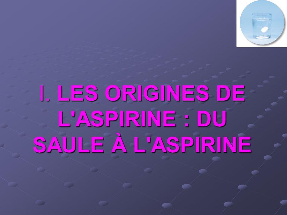 1) Le saule : Ancêtre de laspirine 400 avant J-C : HIPPOCRATE utilise les feuilles de saule pour soulager les douleurs de l accouchement et faire baisser la fièvre.