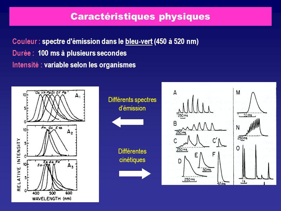 Caractéristiques physiques Différents spectres démission Différentes cinétiques Couleur : spectre d'émission dans le bleu-vert (450 à 520 nm) Durée :