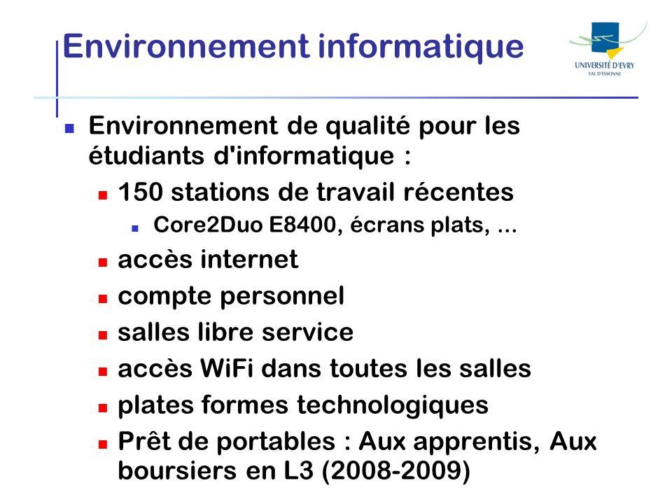 Environnement informatique Environnement de qualité pour les étudiants d'informatique : 150 stations de travail récentes Core2Duo E8400, écrans plats,