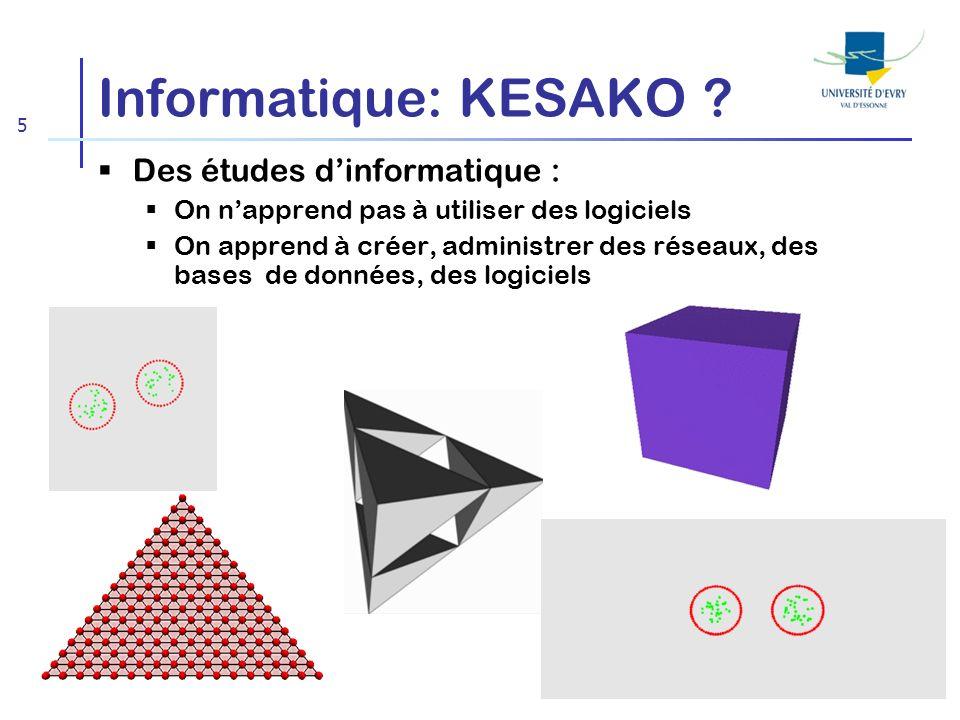 5 Informatique: KESAKO ? Des études dinformatique : On napprend pas à utiliser des logiciels On apprend à créer, administrer des réseaux, des bases de