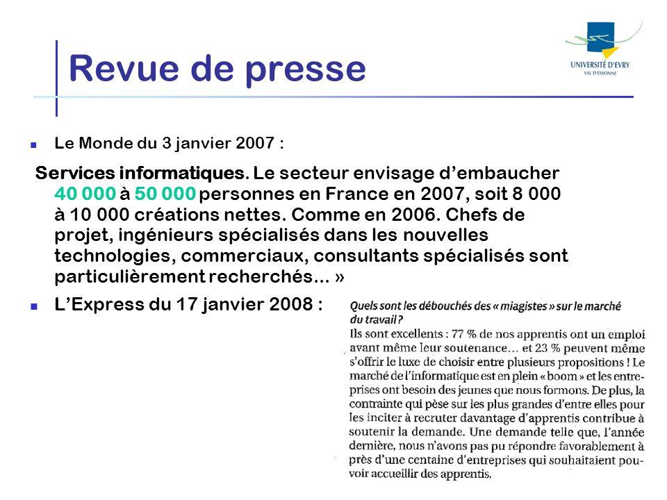 Revue de presse Le Monde du 3 janvier 2007 : Services informatiques. Le secteur envisage dembaucher 40 000 à 50 000 personnes en France en 2007, soit