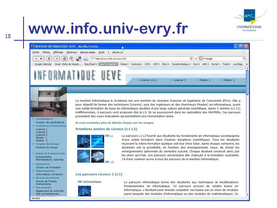 18 www.info.univ-evry.fr
