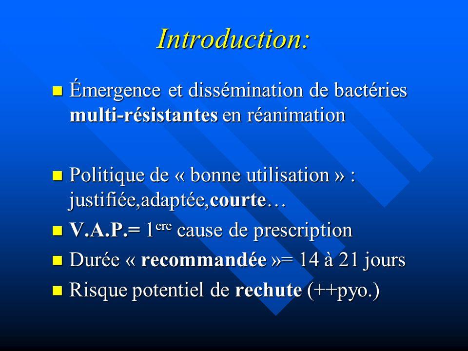 Introduction: Émergence et dissémination de bactéries multi-résistantes en réanimation Émergence et dissémination de bactéries multi-résistantes en ré