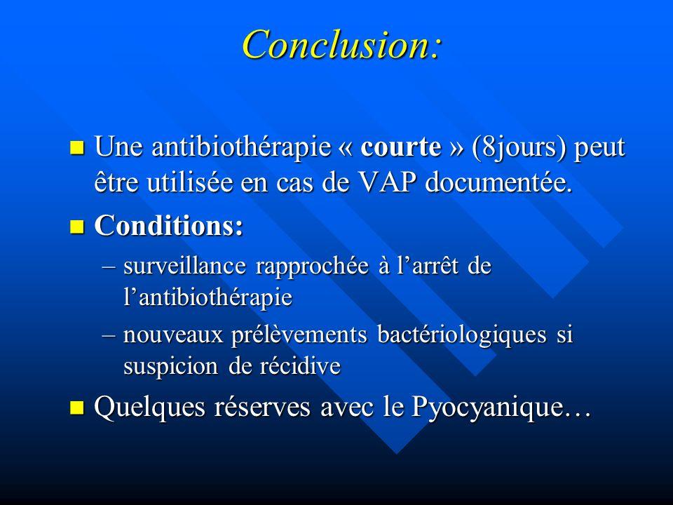 Conclusion: Une antibiothérapie « courte » (8jours) peut être utilisée en cas de VAP documentée. Une antibiothérapie « courte » (8jours) peut être uti