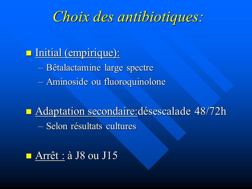 Choix des antibiotiques: Initial (empirique): Initial (empirique): –Bêtalactamine large spectre –Aminoside ou fluoroquinolone Adaptation secondaire:dé