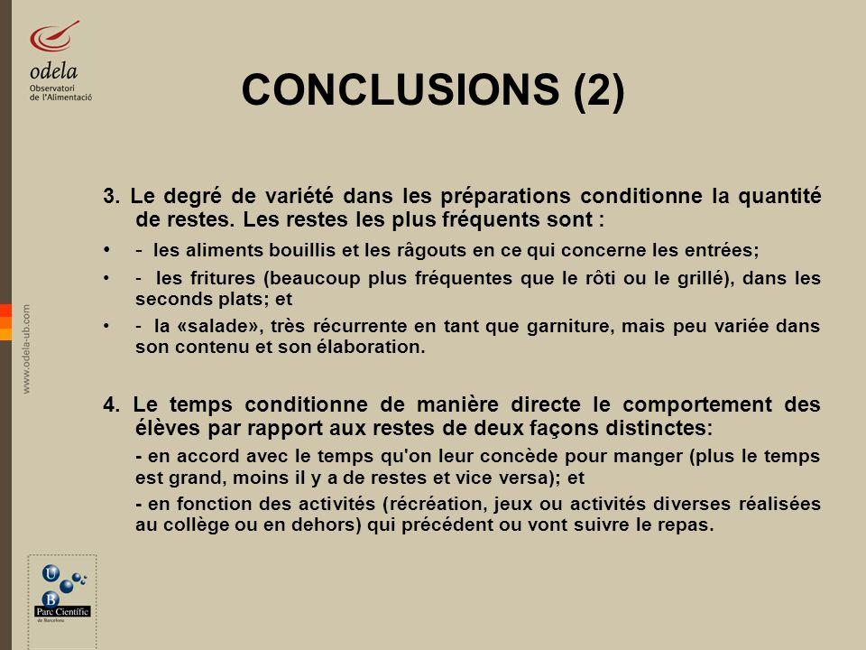 CONCLUSIONS (2) 3. Le degré de variété dans les préparations conditionne la quantité de restes. Les restes les plus fréquents sont : - les aliments bo