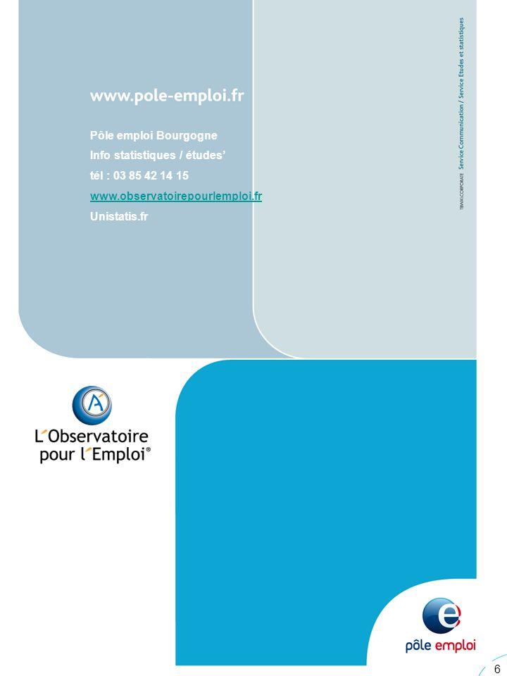6 6 Pôle emploi Bourgogne Info statistiques / études tél : 03 85 42 14 15 www.observatoirepourlemploi.fr Unistatis.fr