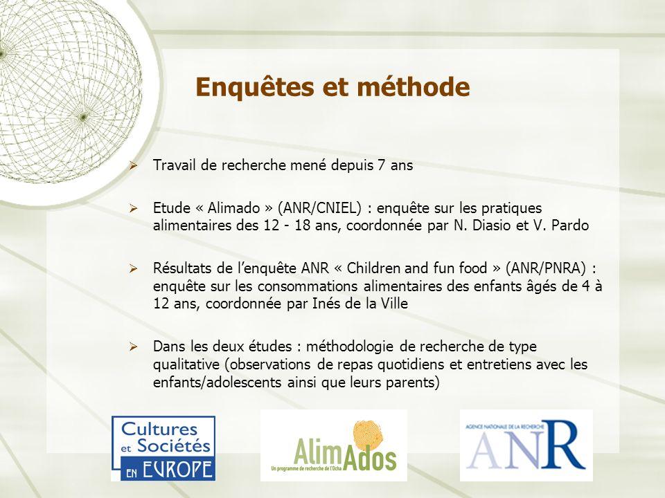 Enquêtes et méthode Travail de recherche mené depuis 7 ans Etude « Alimado » (ANR/CNIEL) : enquête sur les pratiques alimentaires des 12 - 18 ans, coordonnée par N.