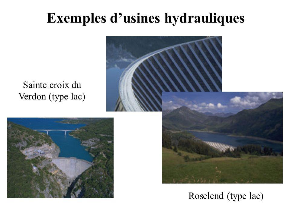 Exemples dusines hydrauliques Roselend (type lac) Sainte croix du Verdon (type lac)
