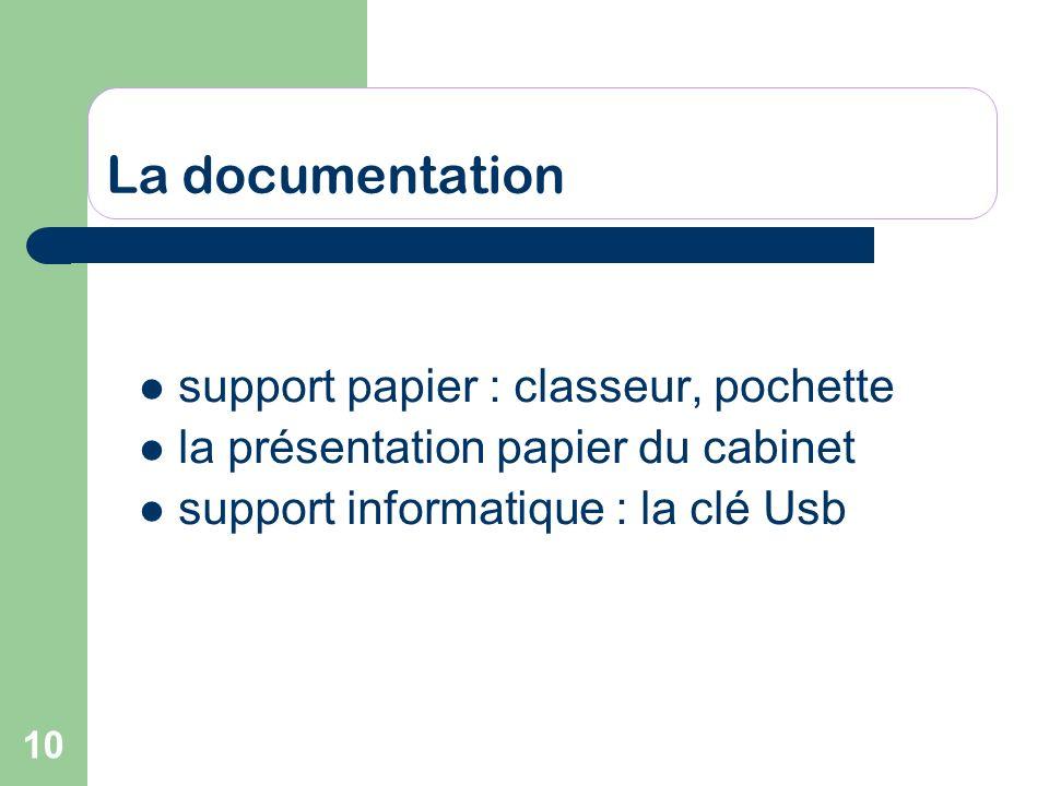 10 La documentation support papier : classeur, pochette la présentation papier du cabinet support informatique : la clé Usb