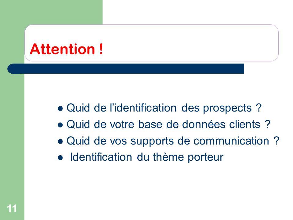 11 Attention ! Quid de lidentification des prospects ? Quid de votre base de données clients ? Quid de vos supports de communication ? Identification