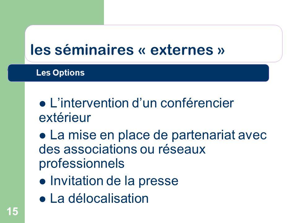 15 les séminaires « externes » Lintervention dun conférencier extérieur La mise en place de partenariat avec des associations ou réseaux professionnel