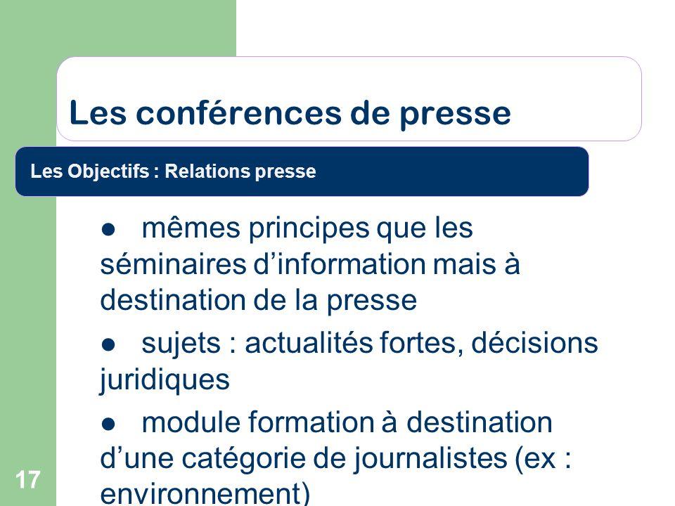 17 Les conférences de presse Les Objectifs : Relations presse mêmes principes que les séminaires dinformation mais à destination de la presse sujets :