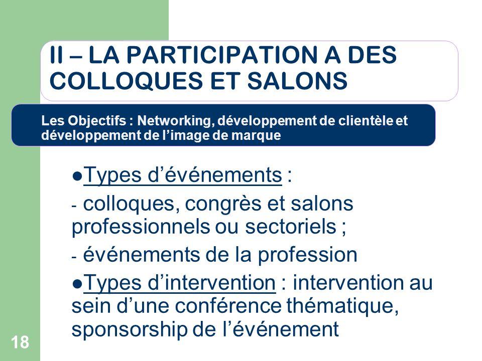 18 II – LA PARTICIPATION A DES COLLOQUES ET SALONS Types dévénements : - colloques, congrès et salons professionnels ou sectoriels ; - événements de l