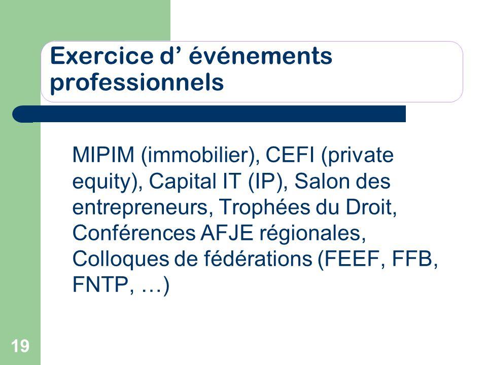 19 Exercice d événements professionnels MIPIM (immobilier), CEFI (private equity), Capital IT (IP), Salon des entrepreneurs, Trophées du Droit, Confér