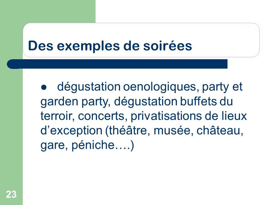23 Des exemples de soirées dégustation oenologiques, party et garden party, dégustation buffets du terroir, concerts, privatisations de lieux dexcepti