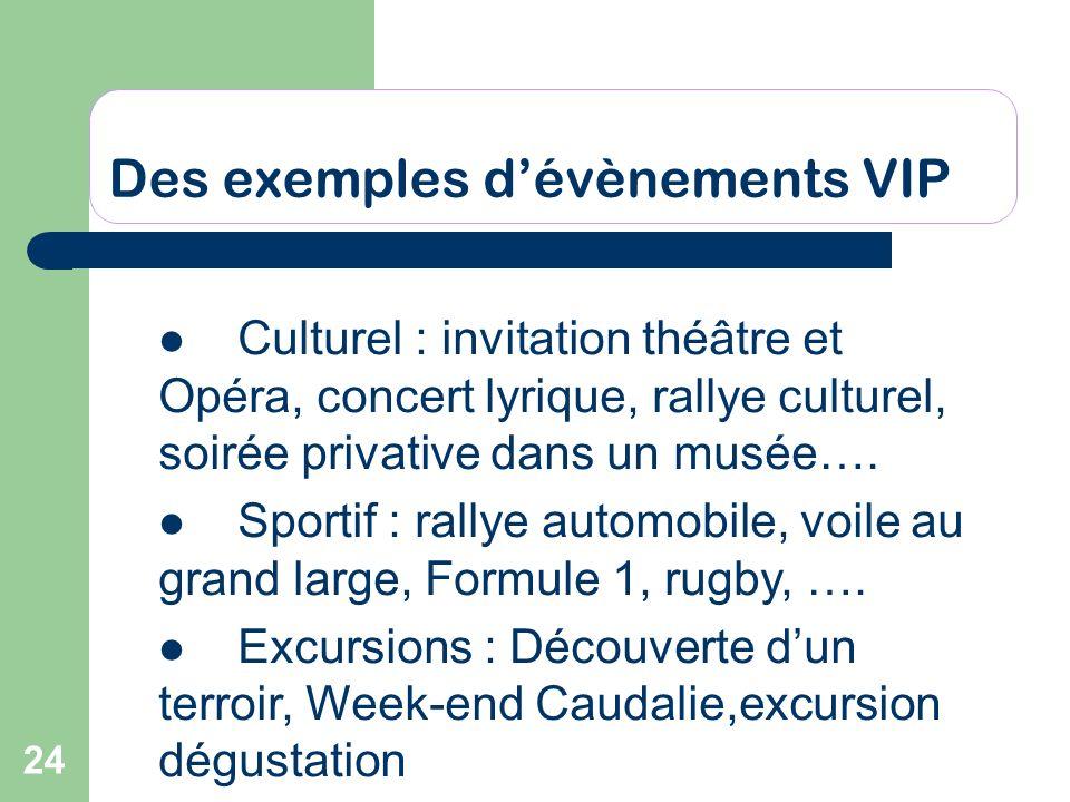 24 Des exemples dévènements VIP Culturel : invitation théâtre et Opéra, concert lyrique, rallye culturel, soirée privative dans un musée…. Sportif : r
