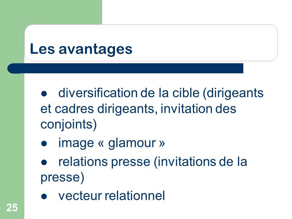 25 Les avantages diversification de la cible (dirigeants et cadres dirigeants, invitation des conjoints) image « glamour » relations presse (invitatio