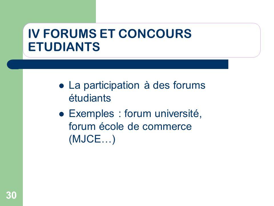 30 IV FORUMS ET CONCOURS ETUDIANTS La participation à des forums étudiants Exemples : forum université, forum école de commerce (MJCE…)
