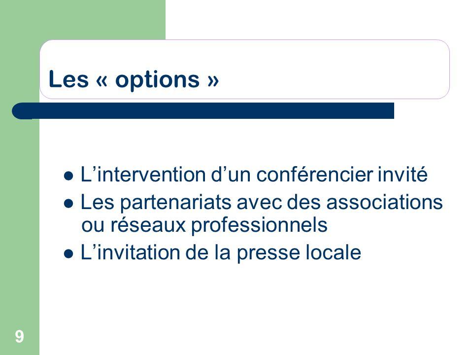 9 Les « options » Lintervention dun conférencier invité Les partenariats avec des associations ou réseaux professionnels Linvitation de la presse loca