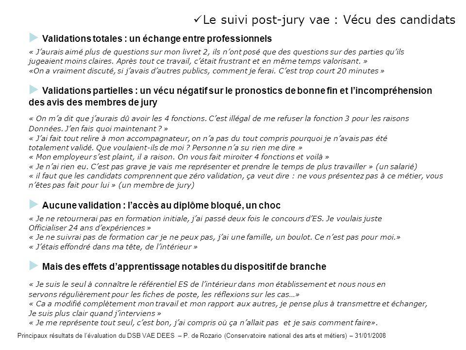 Le suivi post-jury vae : Vécu des candidats Validations totales : un échange entre professionnels « Jaurais aimé plus de questions sur mon livret 2, i