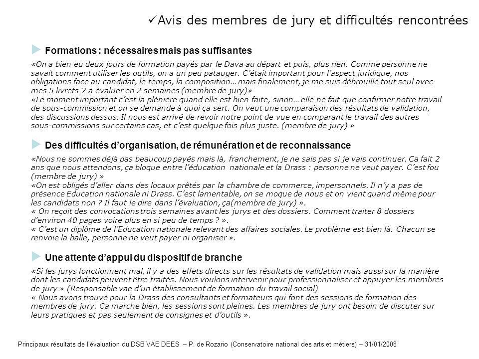 Avis des membres de jury et difficultés rencontrées Formations : nécessaires mais pas suffisantes «On a bien eu deux jours de formation payés par le D