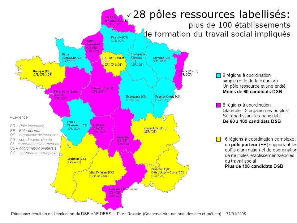 28 pôles ressources labellisés: plus de 100 établissements de formation du travail social impliqués Picardie [CS] (1PR/1OF) Haute Normandie [CS-CB] (1