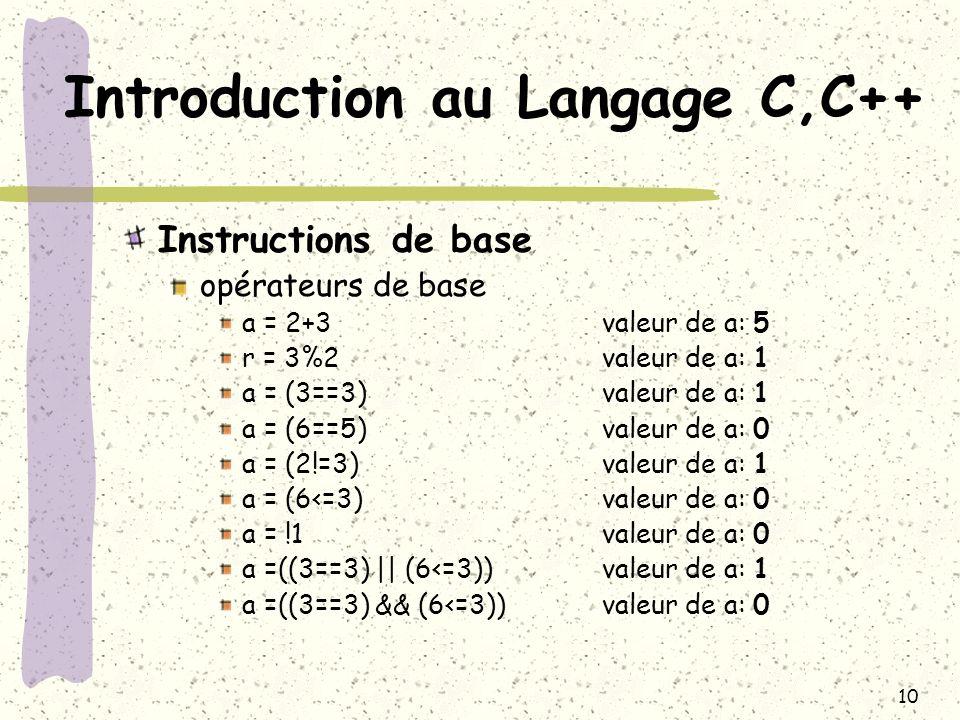 10 Introduction au Langage C,C++ Instructions de base opérateurs de base a = 2+3 valeur de a: 5 r = 3%2valeur de a: 1 a = (3==3)valeur de a: 1 a = (6=