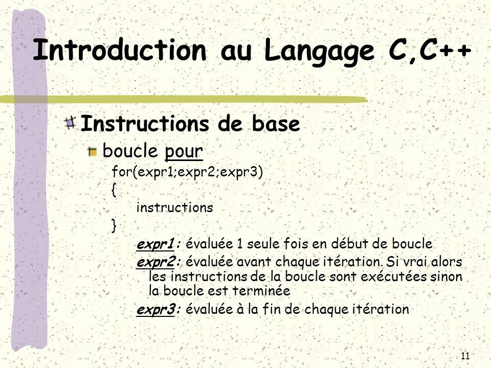 11 Introduction au Langage C,C++ Instructions de base boucle pour for(expr1;expr2;expr3) { instructions } expr1: évaluée 1 seule fois en début de bouc