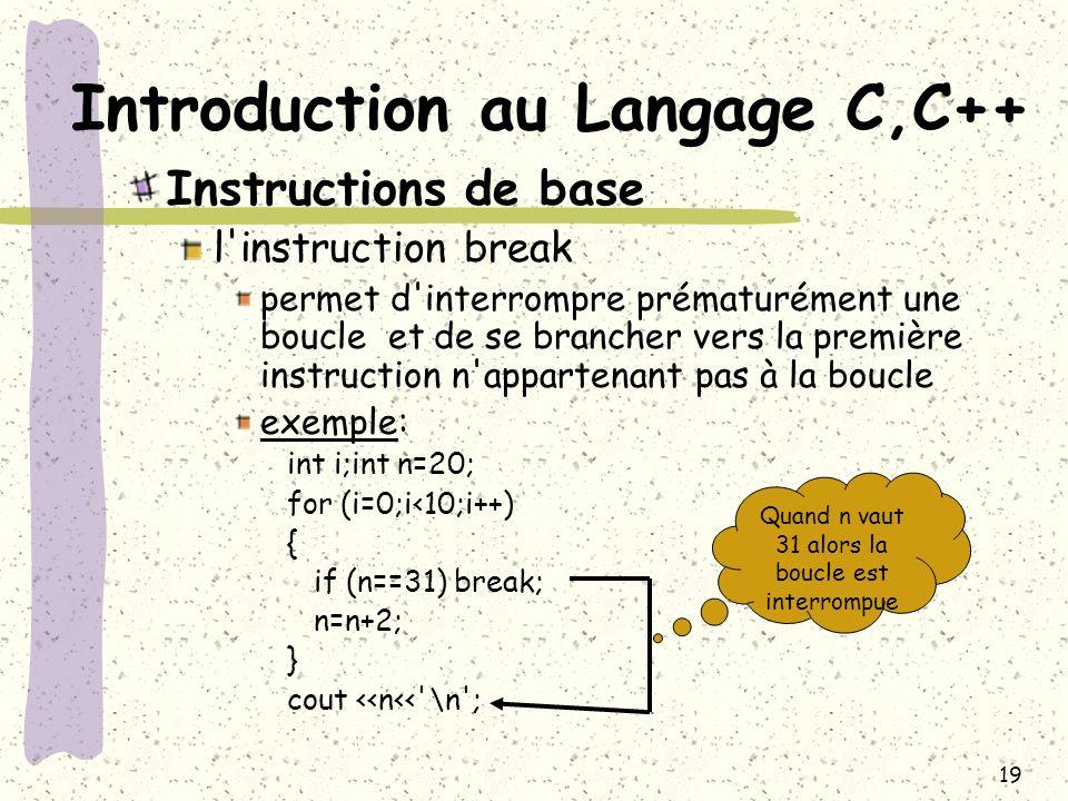 19 Introduction au Langage C,C++ Instructions de base l'instruction break permet d'interrompre prématurément une boucle et de se brancher vers la prem