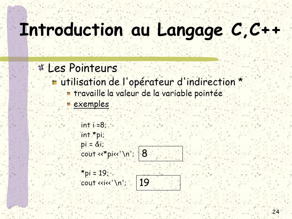 24 Introduction au Langage C,C++ Les Pointeurs utilisation de l'opérateur d'indirection * travaille la valeur de la variable pointée exemples int i =8