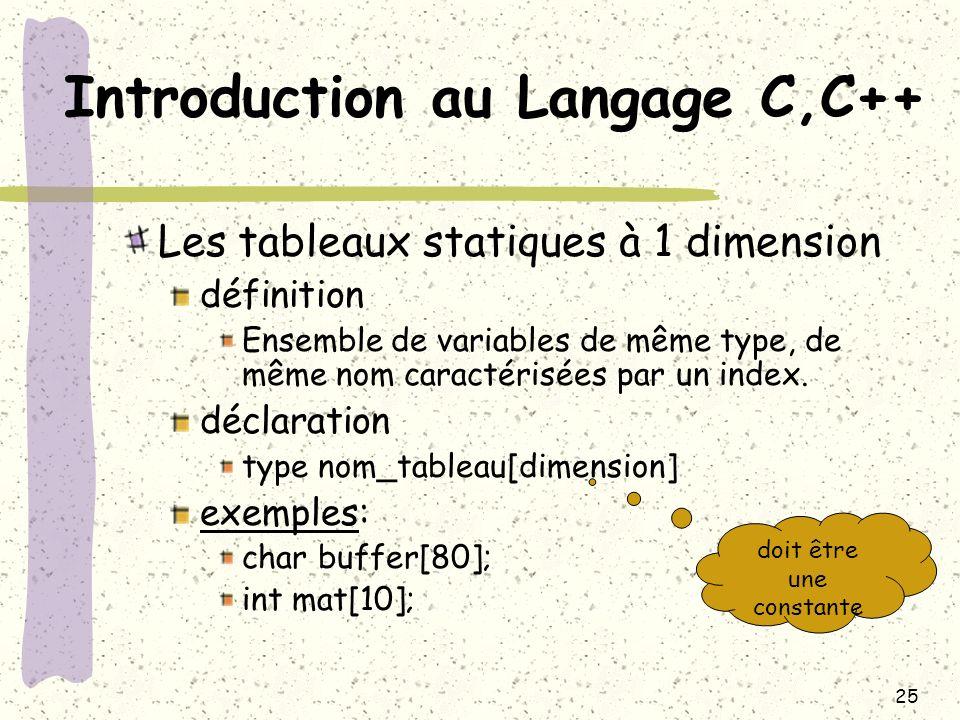 25 Introduction au Langage C,C++ Les tableaux statiques à 1 dimension définition Ensemble de variables de même type, de même nom caractérisées par un