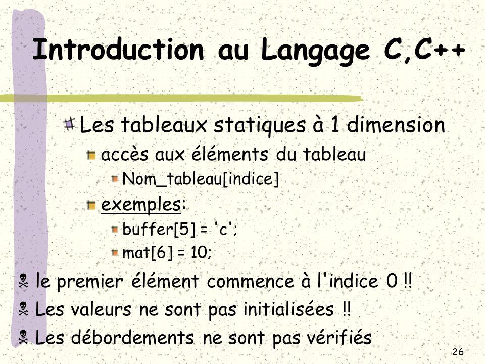 26 Introduction au Langage C,C++ Les tableaux statiques à 1 dimension accès aux éléments du tableau Nom_tableau[indice] exemples: buffer[5] = 'c'; mat