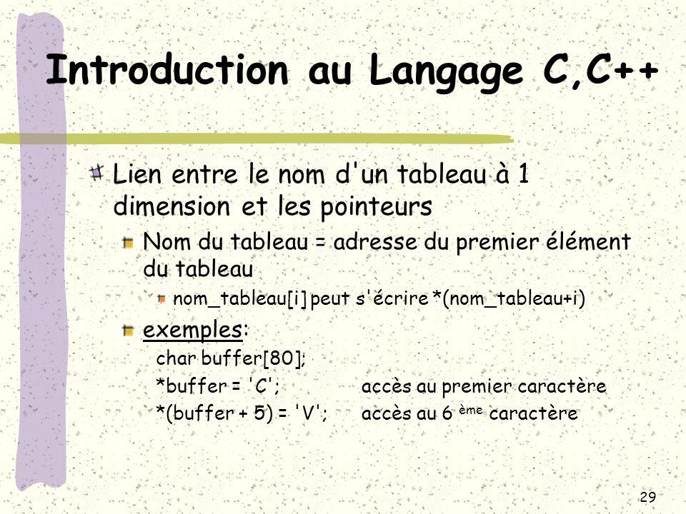 29 Introduction au Langage C,C++ Lien entre le nom d'un tableau à 1 dimension et les pointeurs Nom du tableau = adresse du premier élément du tableau