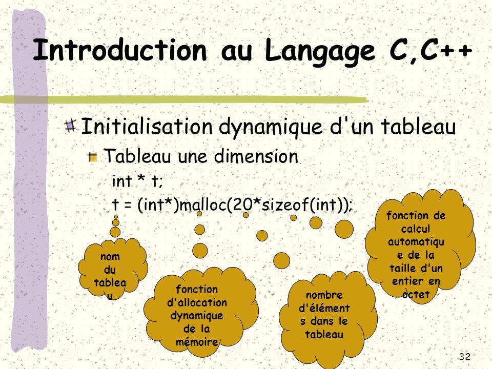 32 Introduction au Langage C,C++ Initialisation dynamique d'un tableau Tableau une dimension int * t; t = (int*)malloc(20*sizeof(int)); nom du tablea