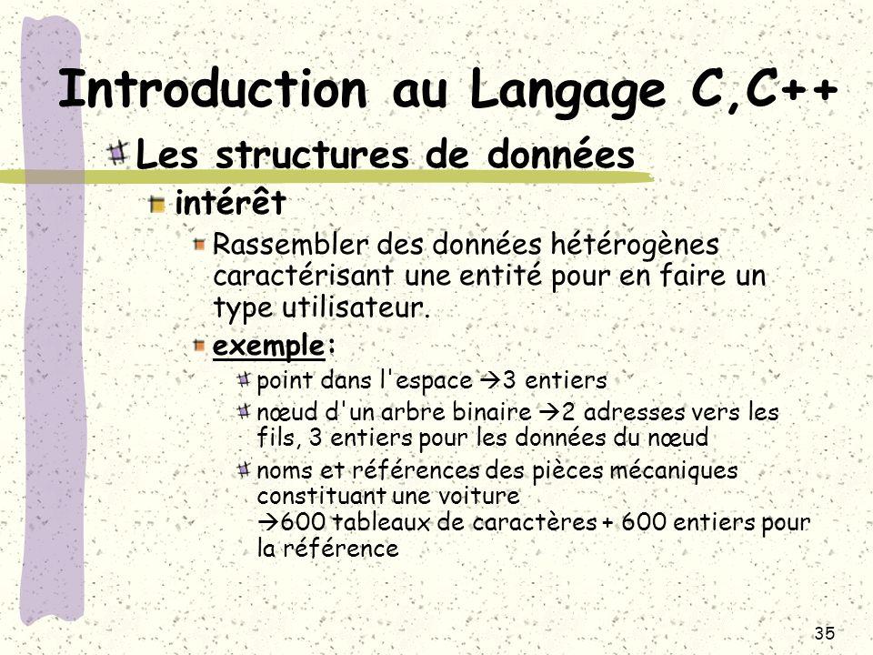 35 Introduction au Langage C,C++ Les structures de données intérêt Rassembler des données hétérogènes caractérisant une entité pour en faire un type u