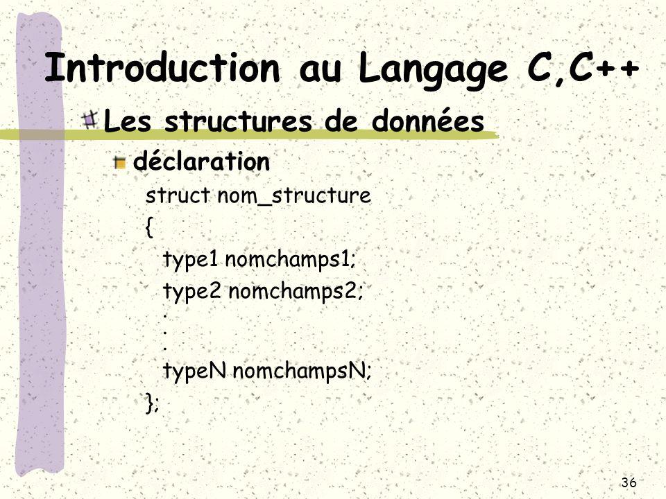 36 Introduction au Langage C,C++ Les structures de données déclaration struct nom_structure { type1 nomchamps1; type2 nomchamps2;. typeN nomchampsN; }